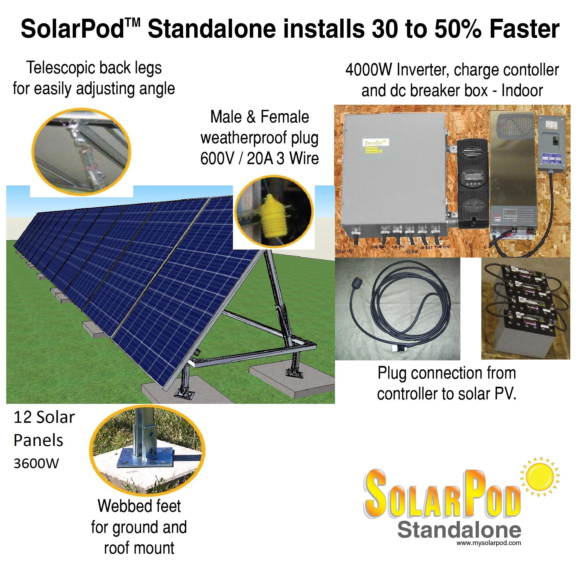Model 1007 Solarpod Standalone 4kw On Off Grid Hybrid Series Wiring Pv Panels Solar System Inverter Charger